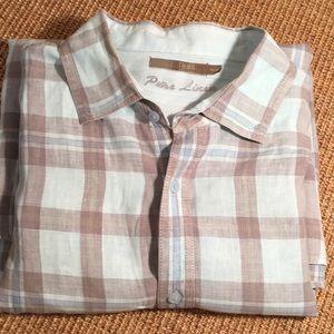 Raffi linen shirt size xxl for men, teal and grey